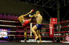 Thai kick boxing fight on the stage Royalty Free Stock Photography