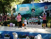 Thai kindergarten and primary school students in morning ceremony royalty free stock photography