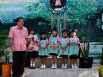 Thai kindergarten and primary school students in morning ceremony royalty free stock photos