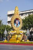 Thai king bilboard. Thai king billboard with golden frame on the street of Bangkok stock photos