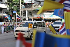 Thai King and Queens Motorcade Royalty Free Stock Photos