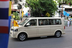Thai King and Queens Motorcade. The Thai king leaves hospital in Bangkok by motorcade for a seaside palace in Hua Hin after almost four years of residence at Royalty Free Stock Photos