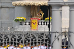 Thai King's 85th Birthday. Thailand's King Bhumibol Adulyadej makes a rare public appearance at the balcony of the Anantasamakom Throne Hall on the occasion of Royalty Free Stock Image
