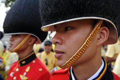 Thai King's 85th Birthday. Members of the Royal Thai Guard march in formation during celebrations of the King's 85th birthday held on the Royal Plaza on December Stock Image