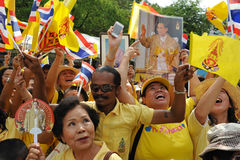 Thai King's 85th Birthday. Thai royalists holds celebrate the 85th birthday of Thai King Bhumibol Adulyadej while attending celebrations on the Royal Plaza on Stock Image