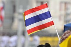 Thai King's 85th Birthday. A Thai royalist waves a Thai flag on the Royal Plaza to celebrate the 85th birthday of Thai King Bhumibol Adulyadej on December 5 Royalty Free Stock Photography