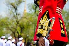Thai king's royal bodyguard. The Royal Yeoman standing security royalty free stock photos