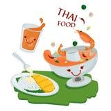 thai kokkonst Tom Yum Kung och mangopinne royaltyfri illustrationer