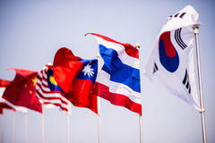 Thai and korea flag. On sky royalty free stock photos
