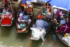 Thai ladies at 'floating kitchens' Royalty Free Stock Photo
