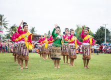 Thai ladies performing Thai dancing in Rocket festival Stock Photos