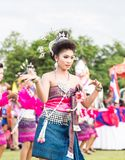 Thai ladies performing Thai dancing in Rocket festival Royalty Free Stock Photo