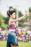 Thai ladies performing Thai dancing in Rocket festival Stock Photo