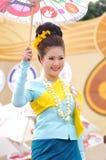 Thai lady. With local uniform holding umbrella, Miss Songkran contest, Songkran festival, Chiangmai, Thailand Royalty Free Stock Photography