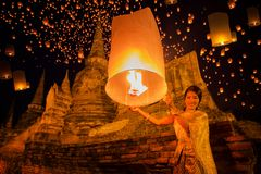 Thai lady enjoy yeepeng festival royalty free stock image