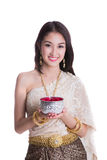Thai lady with Songkran festival concept. In whith isolated background Stock Image