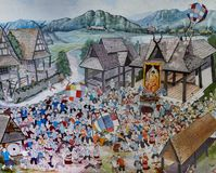 Thai Lanna mural painting of Thai people life in the past on temple wall in Chiang Mai, Thailand stock photo