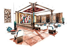 Thai Lanna restaurant design of watercolor painting Royalty Free Stock Photo