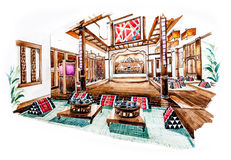 Thai Lanna restaurant design of watercolor painting Stock Images