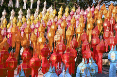 Thai lanterns in yee-peng festival Royalty Free Stock Images