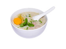 Thai,lao,asia  breakfast  Rice gruel in bowl  isolated. Thai,lao,asia  breakfast  Rice gruel in bowl on isolated with clipping path Royalty Free Stock Images