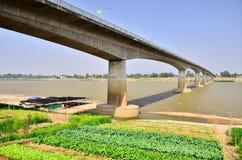 Thai-Laos Friendship Bridge. Across border Stock Photos