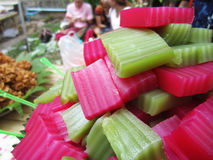 Thai layer sweet cake, thailand traditional snack called kanom chan. Photo of thai layer sweet cake, thailand traditional snack called kanom chan Royalty Free Stock Photo
