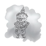 Thai legendary giant king cartoon drawing 1 Royalty Free Stock Photo