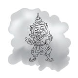 Thai legendary giant king cartoon drawing 2 Royalty Free Stock Photos