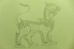 Thai Leo Drawing. Drawing for Imagination of Leo stock photos