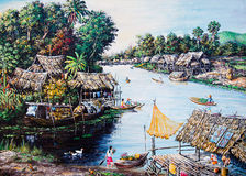 Thai life of oil painting stock photo