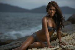 Thai Lingerie Model at Sunset Stock Photos