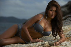 Thai Lingerie Model at Sunset Stock Photos