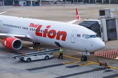 Thai Lion Air aircraft waiting for passengers at Don Muang Inter Stock Image