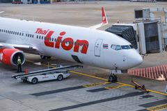 Thai Lion Air aircraft waiting for passengers at Don Muang Inter Royalty Free Stock Image