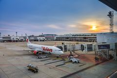 Thai Lion Air aircraft waits for passengers at Don Muang Interna Royalty Free Stock Photography