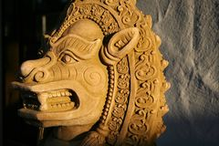 Thai Lion Statue. Ancient Thai Lion Statue at sunset stock images