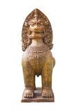 Thai Lion Statue In Thai Public Temple. Stock Photo
