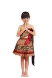 Thai Little girl. Thai littile girl dressing with traditional style, on white stock photos