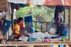 Thai little girl rural homework Royalty Free Stock Images