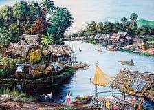 thai livstidsoljemålning Arkivfoto