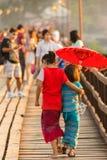 Thai llittle girl holding umbrella Royalty Free Stock Photography