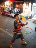 Thai local boy play hula hoop in chiangmai Stock Images