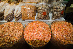 Thai local market, dry banana flowers, shrimps and mushrooms Royalty Free Stock Image