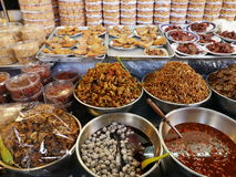 Thai local market,shellfish pickle,dry squid,shrimps,pork,fish,mushrooms and more. Thai local market,dry squid,shellfish pickle,shrimps,pork,fish,mushrooms in Royalty Free Stock Photos