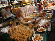 Thai local market,shellfish pickle,dry squid,shrimps,pork,fish,mushrooms and more. Thai local market,dry squid,shellfish pickle,shrimps,pork,fish,mushrooms in Royalty Free Stock Photography