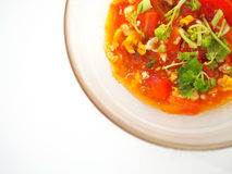 Thai local stir fried tomato with egg and parsley stock image