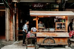 Thai Local Street Food Rice And Noodle Shop In Uthaithani Royalty Free Stock Image