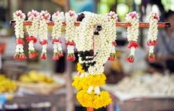 Thai local traditional jasmine garland : Closeup. Thai local traditional jasmine garland : Close up Royalty Free Stock Photography