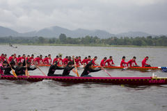 Thai long boat traditional compete Stock Images